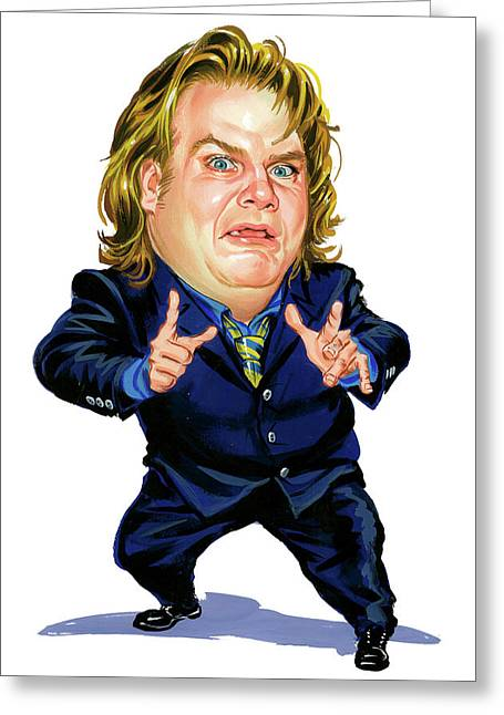 Comedian Paintings Greeting Cards - Chris Farley Greeting Card by Art