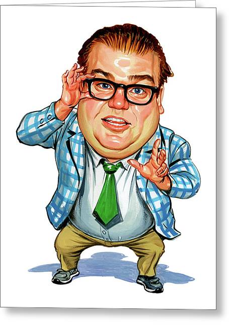 Caricatures Greeting Cards - Chris Farley as Matt Foley Greeting Card by Art