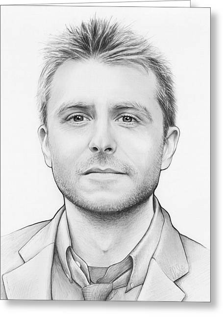 Graphite Greeting Cards - Chris Hardwick Greeting Card by Olga Shvartsur