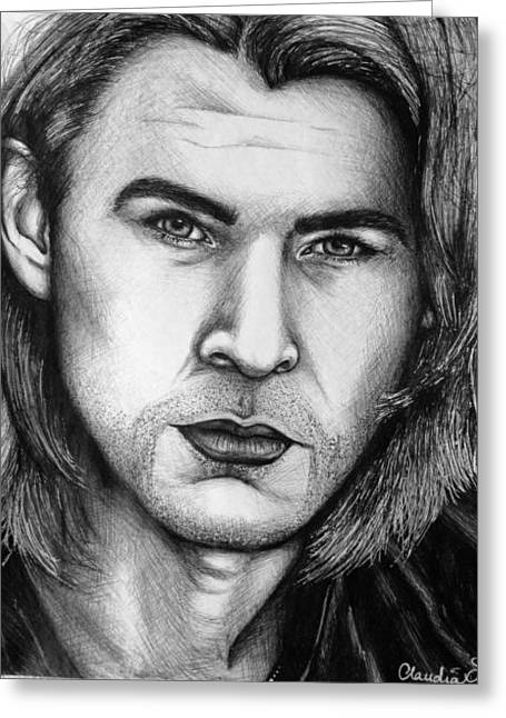 Thor Drawings Greeting Cards - Chris Hemsworth Greeting Card by Claudia Gonzalez