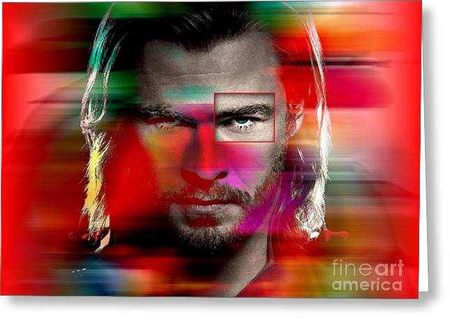 In Attendance Greeting Cards - Chris Hemsworth Painting Greeting Card by Marvin Blaine