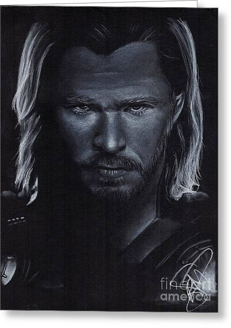 Thor Drawings Greeting Cards - Chris Hemsworth Greeting Card by Rosalinda Markle
