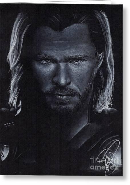 Avengers Drawings Greeting Cards - Chris Hemsworth Greeting Card by Rosalinda Markle