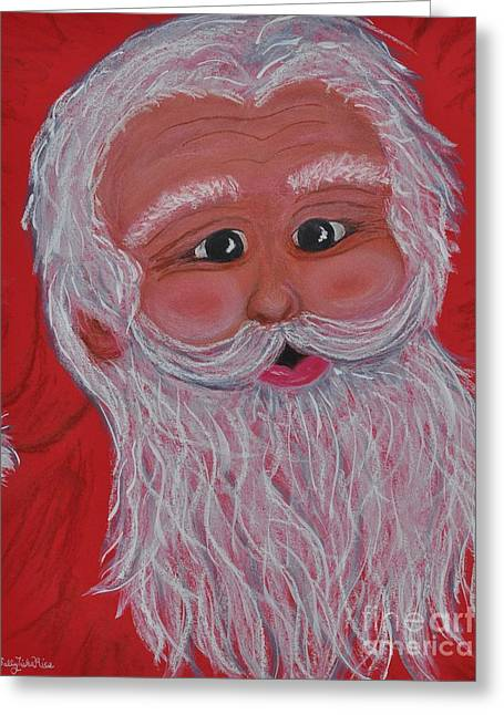Nicholas Pastels Greeting Cards - Chris Kringle Greeting Card by Sally Rice