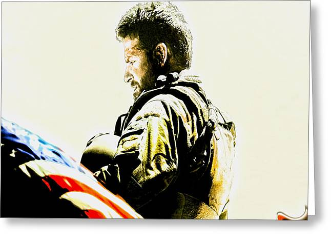 Battlefield Site Mixed Media Greeting Cards - Chris Kyle Greeting Card by Brian Reaves