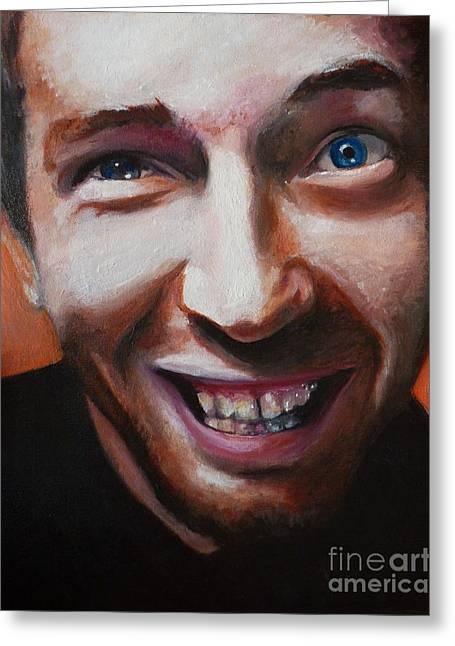 Coldplay Paintings Greeting Cards - Chris Martin from Coldplay Greeting Card by Rachel Elliott