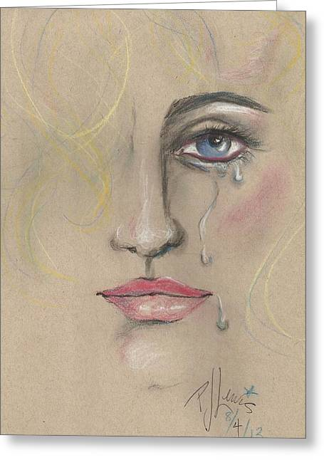 Crying Drawings Greeting Cards - Chris Greeting Card by P J Lewis