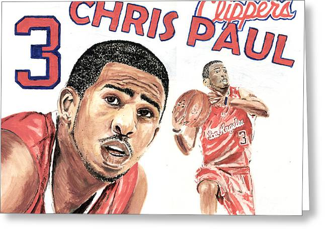 La Clippers Greeting Cards - Chris Paul Greeting Card by Israel Torres