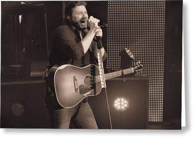 White Beard Photographs Greeting Cards - Chris Young On Stage Greeting Card by Dan Sproul