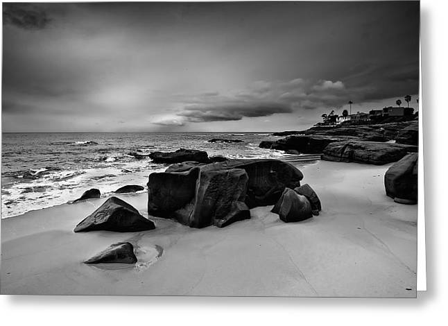 California Beaches Greeting Cards - Chriss Rock 2013 Black and White Greeting Card by Peter Tellone
