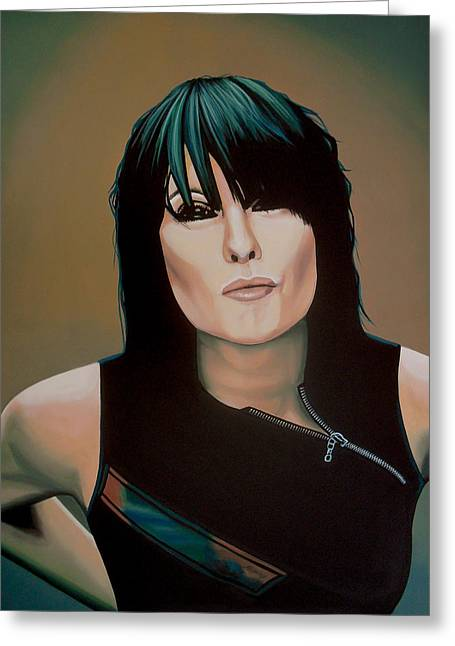 Sleep Paintings Greeting Cards - Chrissie Hynde Greeting Card by Paul  Meijering