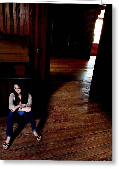 A Girl In A Wood Greeting Cards - Chrissie in Barn Greeting Card by Jeff Lowe