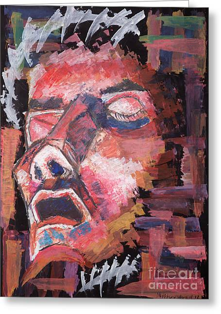 Absorb Paintings Greeting Cards - Christ Alleviated Greeting Card by Matthew  Wardell