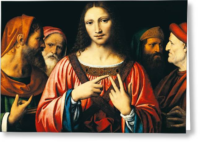 Bible Paintings Greeting Cards - Christ among the Doctors Greeting Card by Bernardino Luini