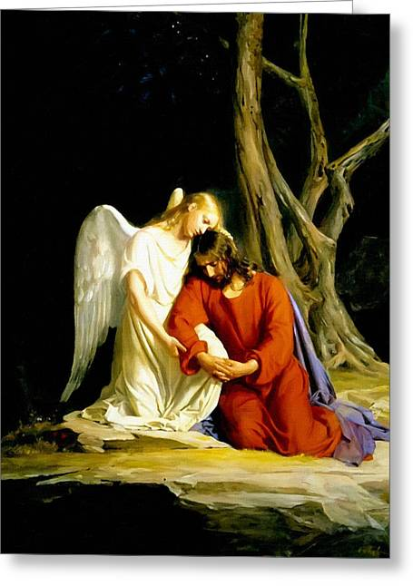 Catholic Art Greeting Cards - Christ and Angel Greeting Card by Victor Gladkiy