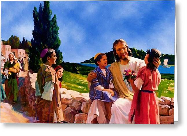 Calvary Greeting Cards - Christ and Children Greeting Card by Victor Gladkiy