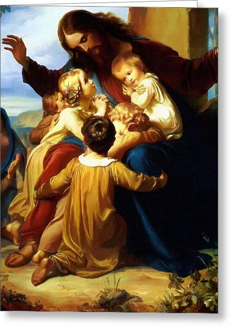 Calvary Greeting Cards - Christ and Childs Greeting Card by Victor Gladkiy