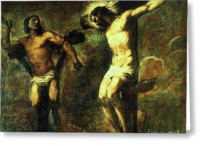 Thief Paintings Greeting Cards - Christ and the good Thief Greeting Card by Pg Reproductions