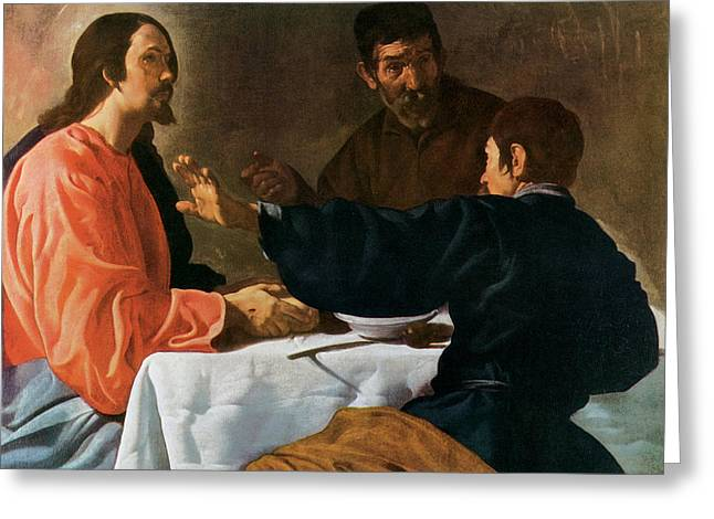 Emmaus Greeting Cards - Christ and the Pilgrims of Emmaus Greeting Card by Diego Velazquez