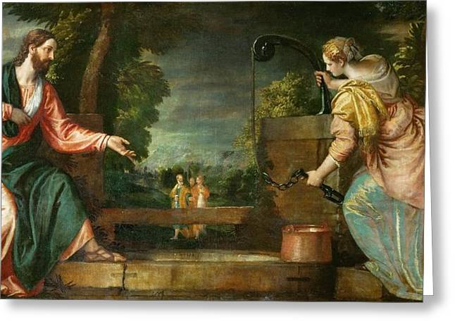 Christ And The Samaritan Woman Greeting Cards - Christ and the Samaritan Woman at the Well Greeting Card by Paolo Veronese