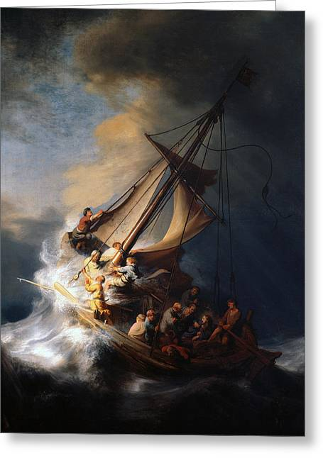 Best Sellers -  - Storm Prints Greeting Cards - Christ And The Storm Greeting Card by Rembrandt