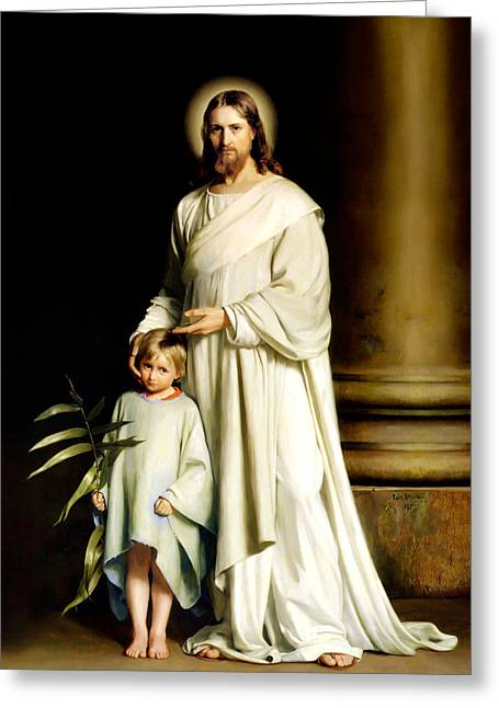 Christ Paintings Greeting Cards - Christ and the Young Child Greeting Card by Carl Bloch Print