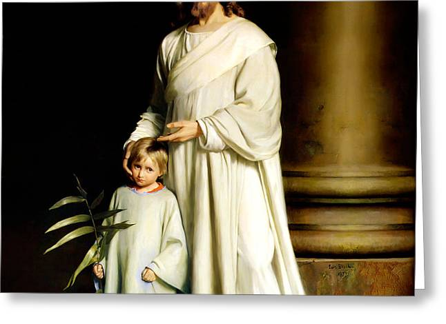 Christ and the Young Child Greeting Card by Carl Bloch Print