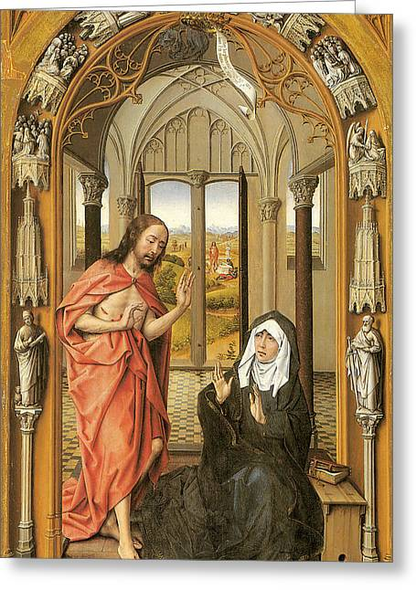 Rogier Van Der Weyden Greeting Cards - Christ Appearing to His Mother Greeting Card by Rogier Van Der Weyden