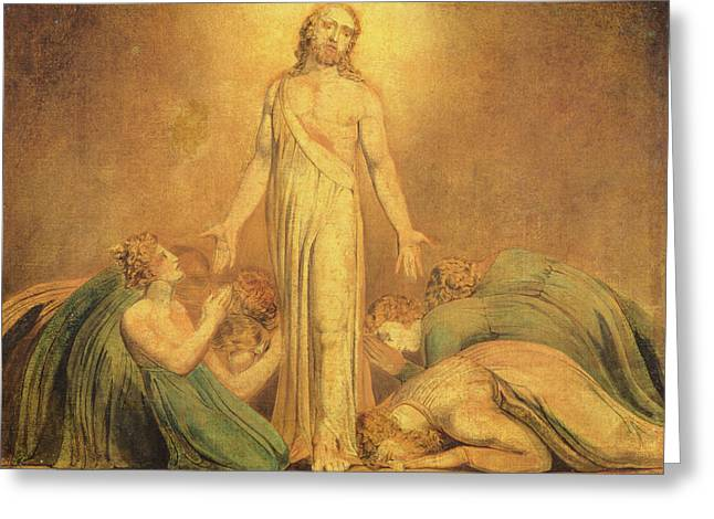Romanticism Drawings Greeting Cards - Christ Appearing to the Apostles after the Resurrection Greeting Card by William Blake