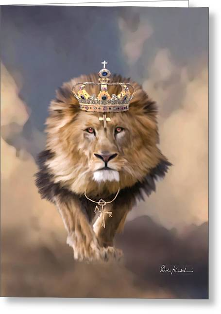 Lord Of Lords. King Of Kings Greeting Cards - Lion of Judah - The King of Kings Greeting Card by Dale Kunkel Art