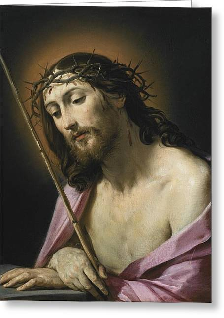 Ecce Paintings Greeting Cards - Christ As Ecce Homo Greeting Card by Celestial Images