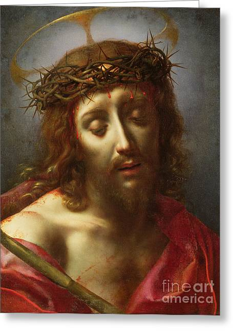 Ecce Paintings Greeting Cards - Christ as the Man of Sorrows Greeting Card by Carlo Dolci