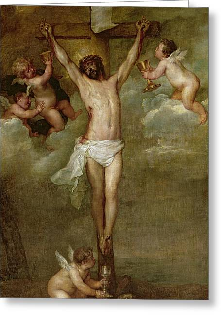 Religious Jesus On Cross Greeting Cards - Christ attended by angels holding chalices Greeting Card by Peter Paul Rubens