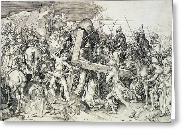 Martyr Drawings Greeting Cards - Christ bearing his cross Greeting Card by Martin Schongauer
