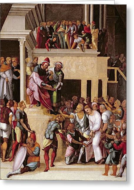 Pontius Greeting Cards - Christ Before Pilate, C.1530 Greeting Card by Lodovico Mazzolino