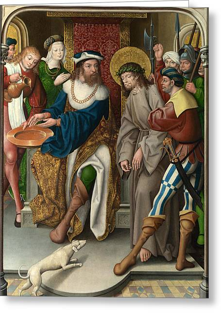 Christ Before Pilate Greeting Cards - Christ before Pilate Greeting Card by Master of Cappenberg