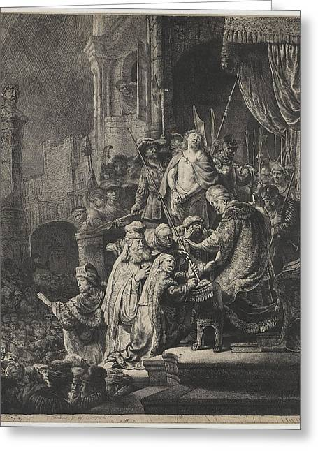 Christ Before Pilate Greeting Cards - Christ before Pilate Greeting Card by Rembrandt