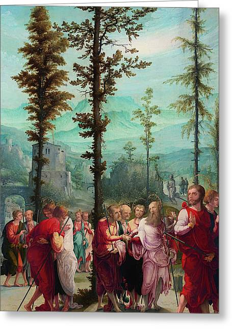Religious work Paintings Greeting Cards - Christ Bids Farewell to the Apostles Greeting Card by Pupil of Wolf Huber