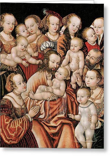 Childre Greeting Cards - Christ Blessing the Children Greeting Card by Master HB of the Griffon Head