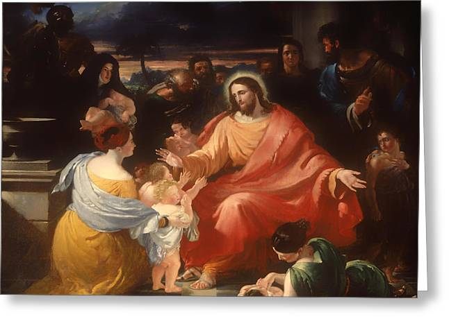 Religious Artwork Paintings Greeting Cards - Christ Blessing the Little Children Greeting Card by Benjamin Haydon