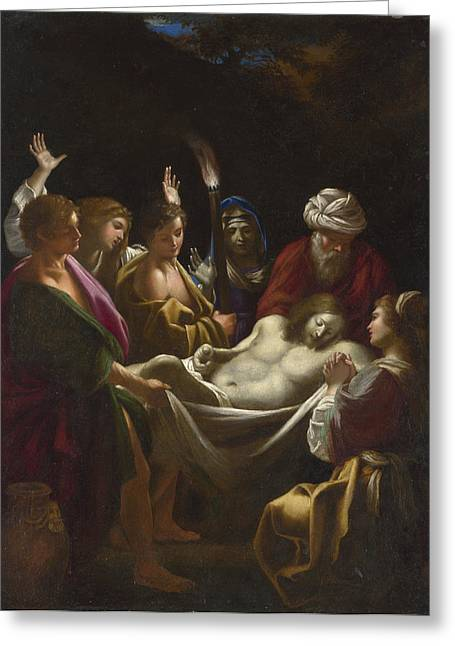 Carry Paintings Greeting Cards - Christ carried to the Tomb Greeting Card by Sisto Badalocchio
