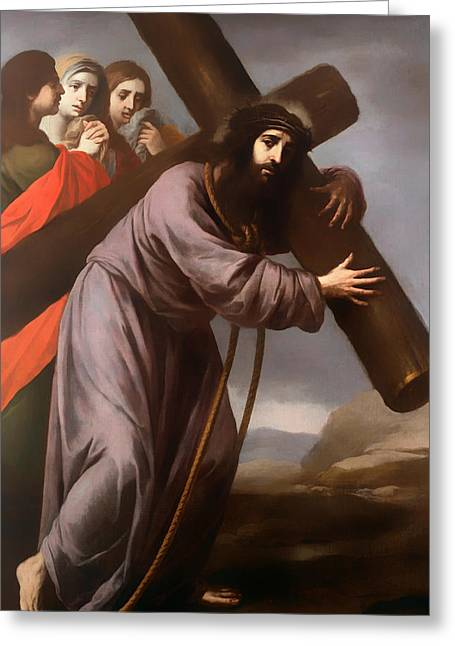 Religious work Paintings Greeting Cards - Christ Carrying His Cross Greeting Card by Spanish School
