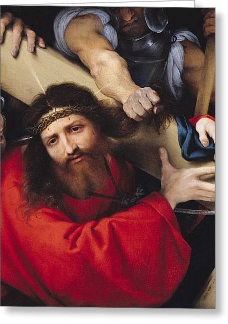 Calvary Greeting Cards - Christ Carrying The Cross, 1526 Oil On Canvas Greeting Card by Lorenzo Lotto