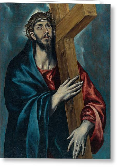 Bravery Greeting Cards - Christ Carrying the Cross Greeting Card by Celestial Images