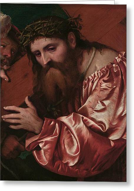 Burden Greeting Cards - Christ Carrying the Cross Greeting Card by Girolamo Romanino