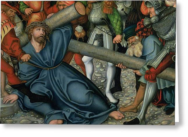 Gospel Greeting Cards - Christ Carrying the Cross Greeting Card by Lucas Cranach