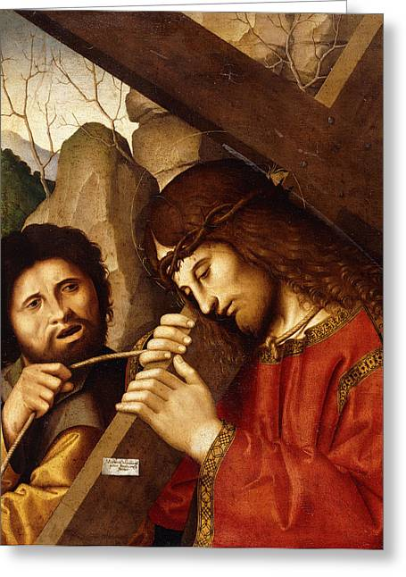 Bible Paintings Greeting Cards - Christ Carrying the Cross Greeting Card by Marco Palmezzano
