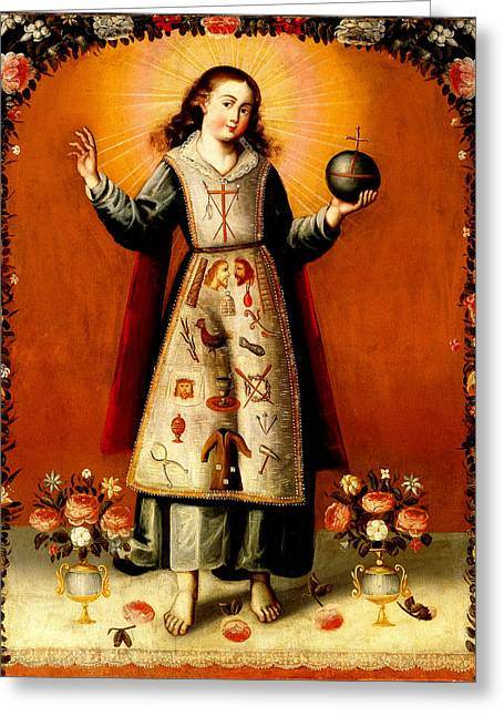 Li Van Saathoff Greeting Cards - Christ Child with Passion Symbols - Remake Greeting Card by Li   van Saathoff