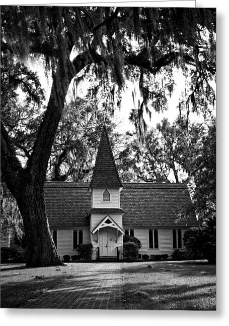 Old Christ Church Greeting Cards - Christ Church Frederica in Black and White Greeting Card by Greg and Chrystal Mimbs