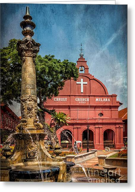 Historical Buildings Digital Art Greeting Cards - Christ Church Malacca Greeting Card by Adrian Evans